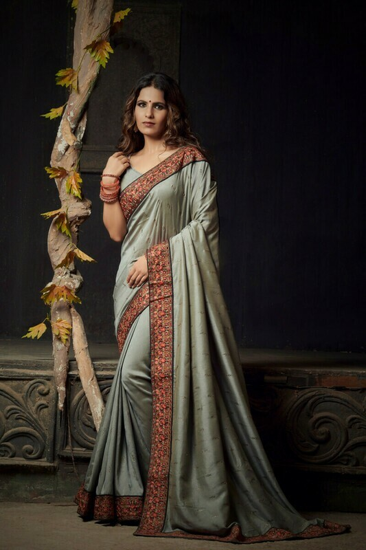 Heavy Diamond Work Vichitra Silk Grey Saree