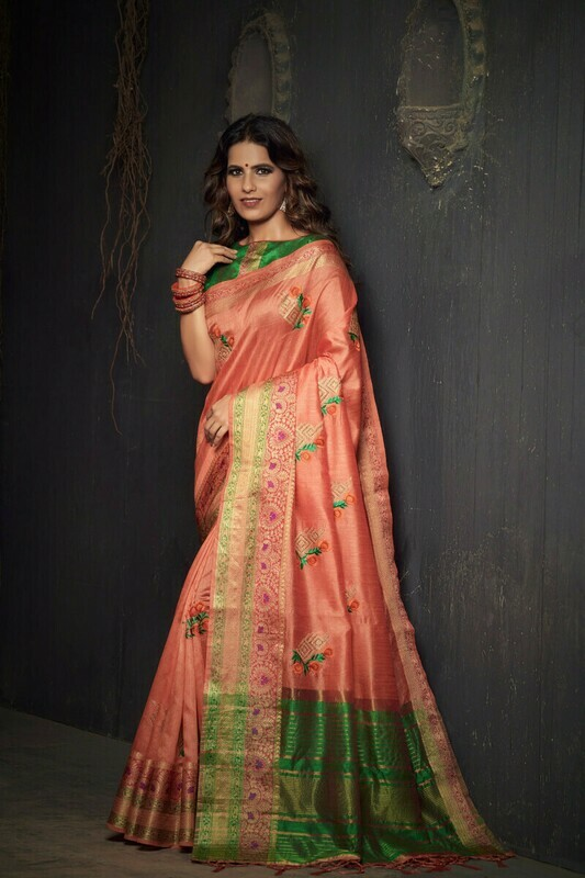 Heavy Designer Peach Dola Silk Saree