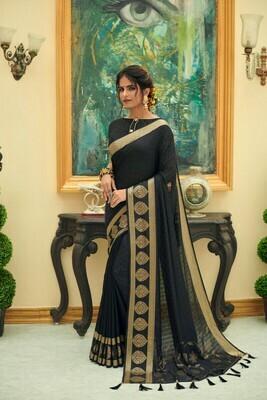 Heavy Jacquard Silk Saree In Black