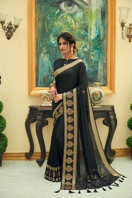 Heavy Jacquard Silk Saree In Black