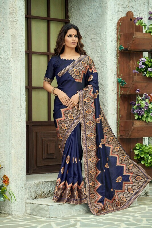 Heavy Zari Work Silk Navy Blue Saree