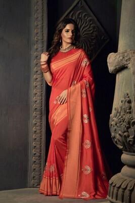 Heavy Sana Silk Red Saree