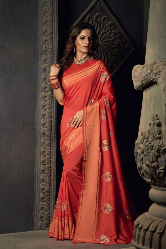 Heavy Sana Silk Red Saree