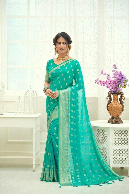 Sky Green Heavy Jacquard Silk Saree
