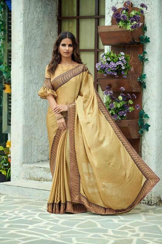 Heavy Designer Chiffon Silk Beige Saree