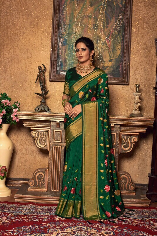 Embroidered Zari Work Silk Green Saree