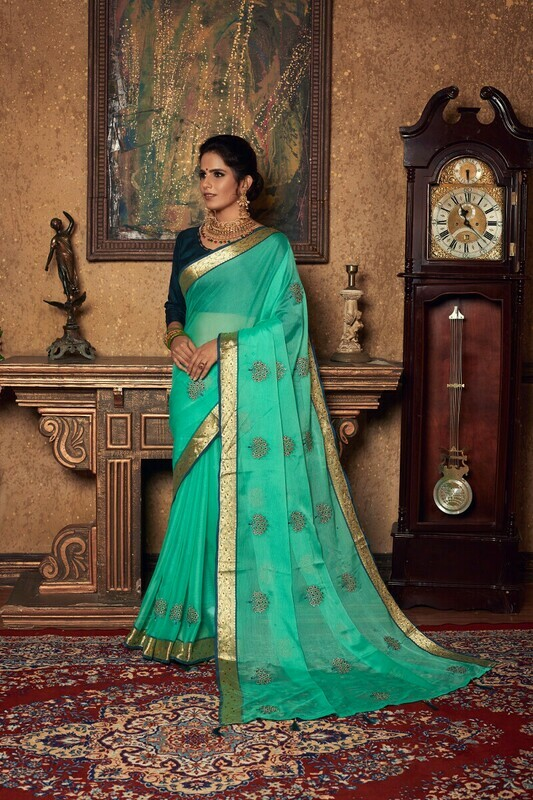 Light Green Chiffon Silk Zari Work Saree