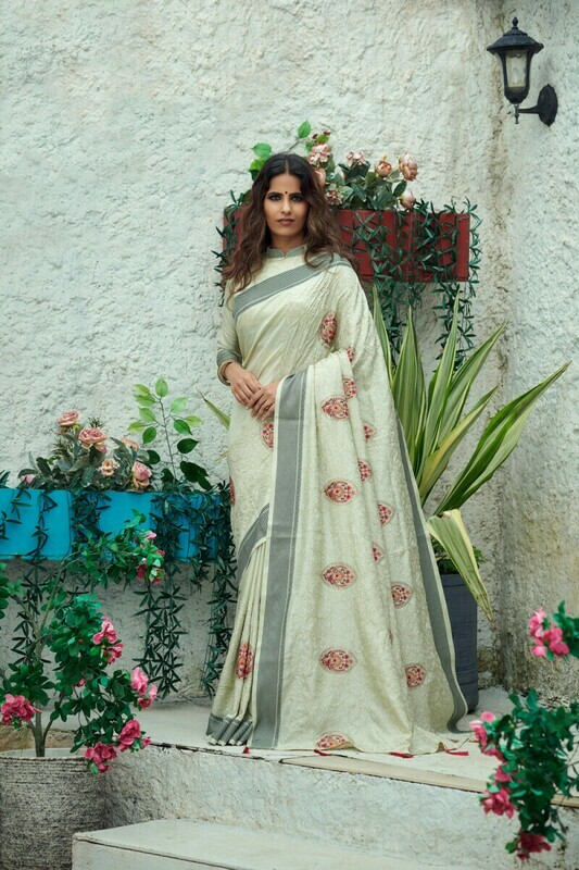 Pistachio Green Vichitra Silk Designer Saree