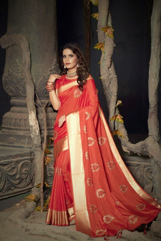 Tissue Silk Zari Designer Red Saree
