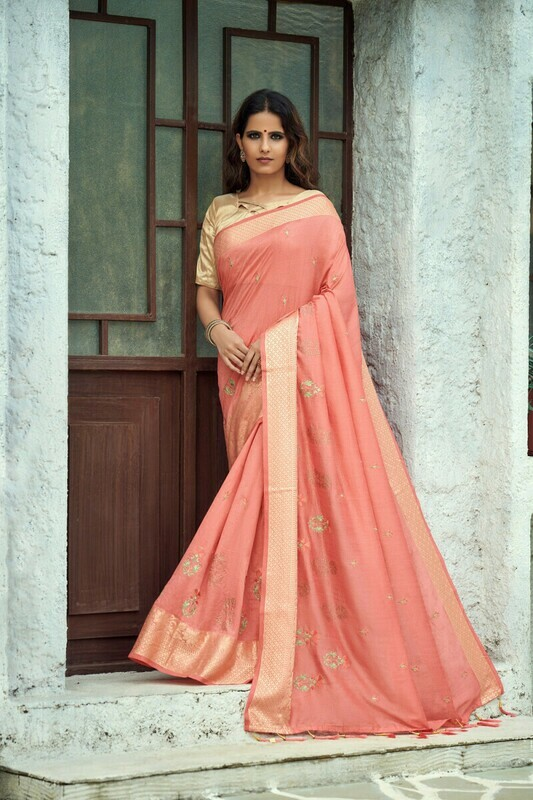 Pink Vichitra Silk Designer Saree