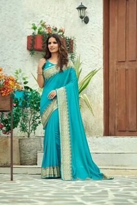 Heavy Embroidered Silk Saree In Sky Blue
