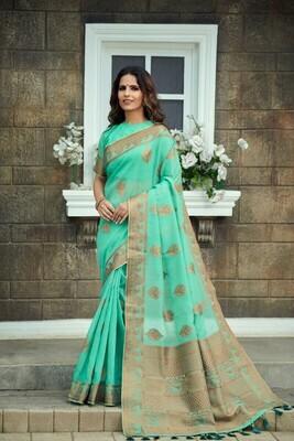 Tissue Silk Sky Blue Embroidered Saree