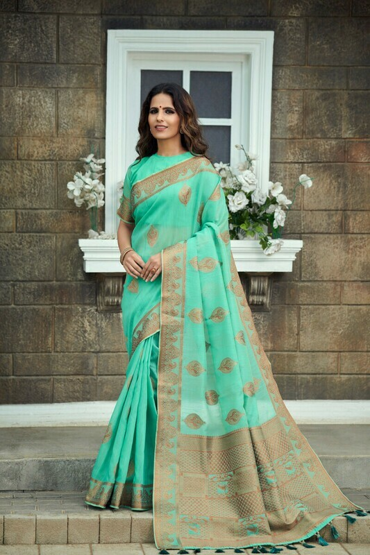 Tissue Silk Sky Blue Embroidered Saree