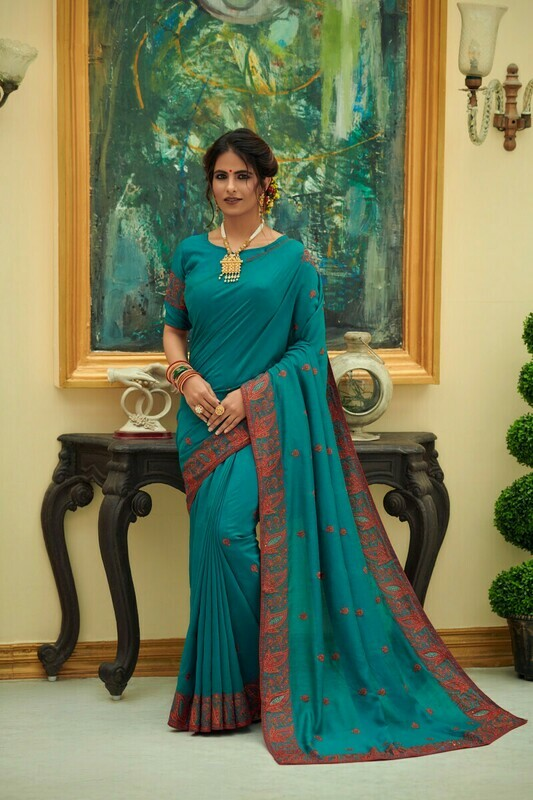 Vichitra Silk Sky Blue Embroidered Saree