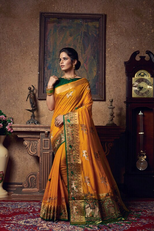 Heavy Silk Mustard Yellow Saree