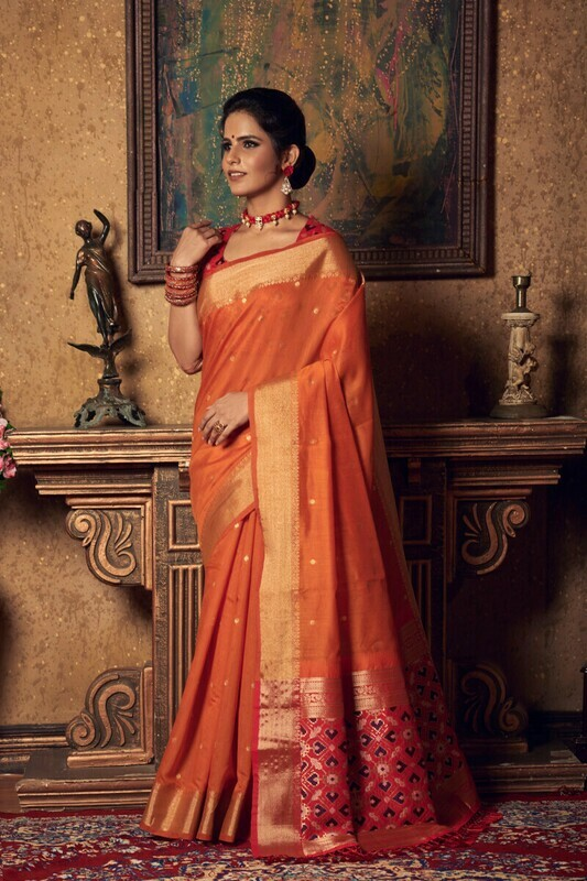 Heavy Weaving Zari Work Red And Orange Saree