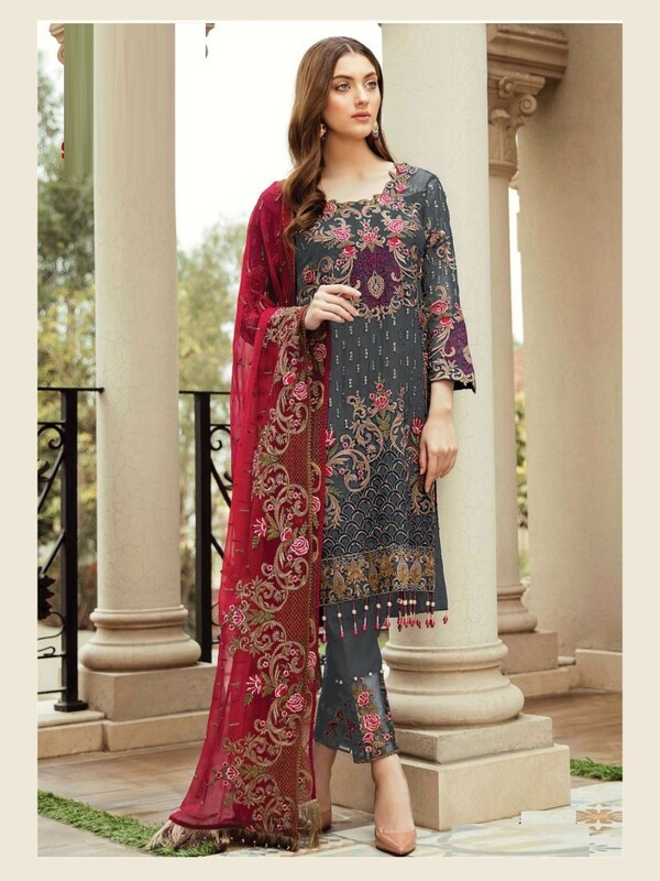 Heavy Faux Georgette Embroidered Pakistani Suit