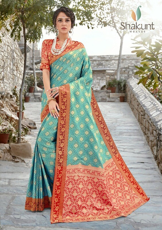 Embroidered Silk Saree In Sky Blue And Red