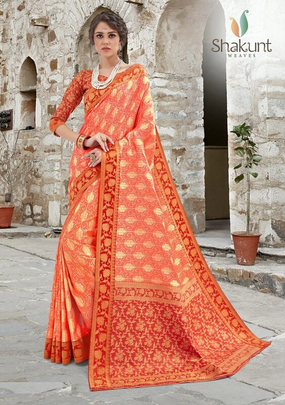 Red And Orange Embroidered Jacquard Silk Saree