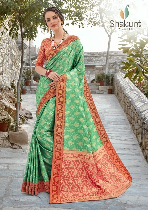 Red And Green Jacquard Silk Saree