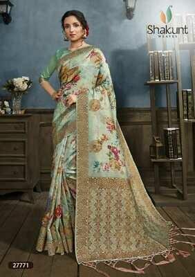 Prominent Pista Green Digital Print Silk Saree