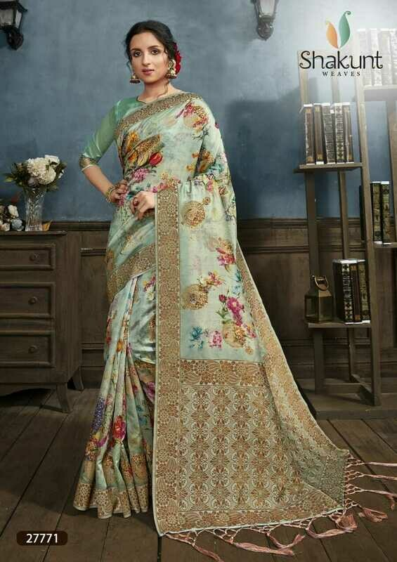 Prominent Pista Green Digital Print Silk Saree