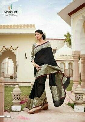 Unique Black Colour Indian Party Wear Cotton Saree