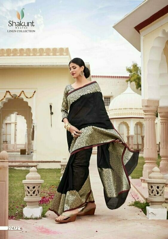 Unique Black Colour Indian Party Wear Cotton Saree
