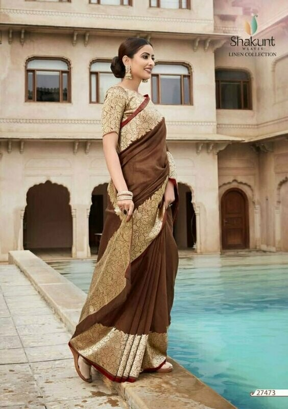 Elegant Brown Jacquard Border Work Cotton Saree