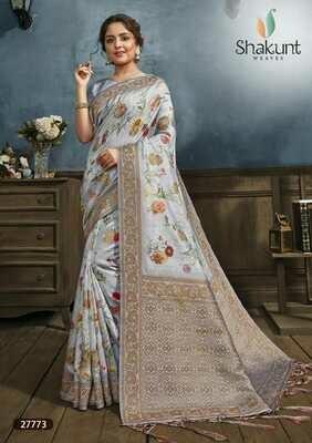 Outstanding Light Blue Indian Digital Print Silk Saree