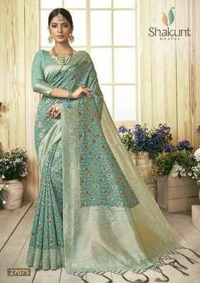 Flattering Pastel Blue Colour Party Wear Cotton Saree