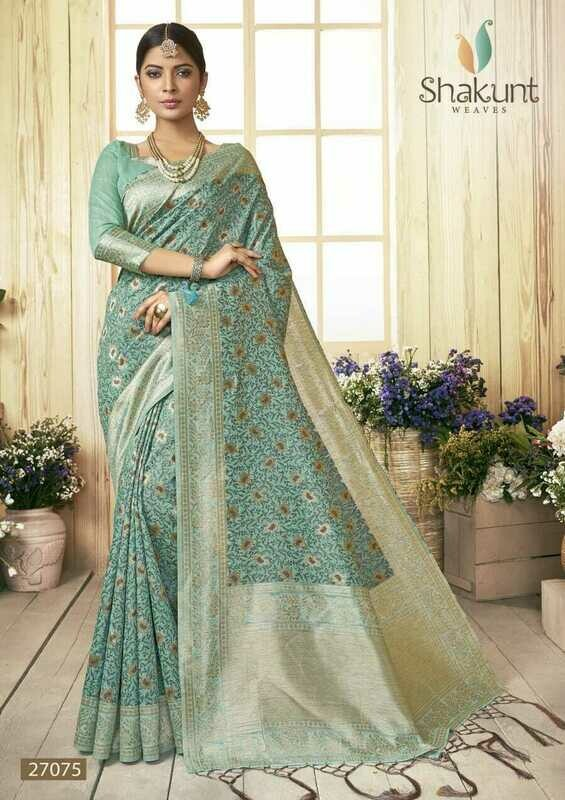 Flattering Pastel Blue Colour Party Wear Cotton Saree