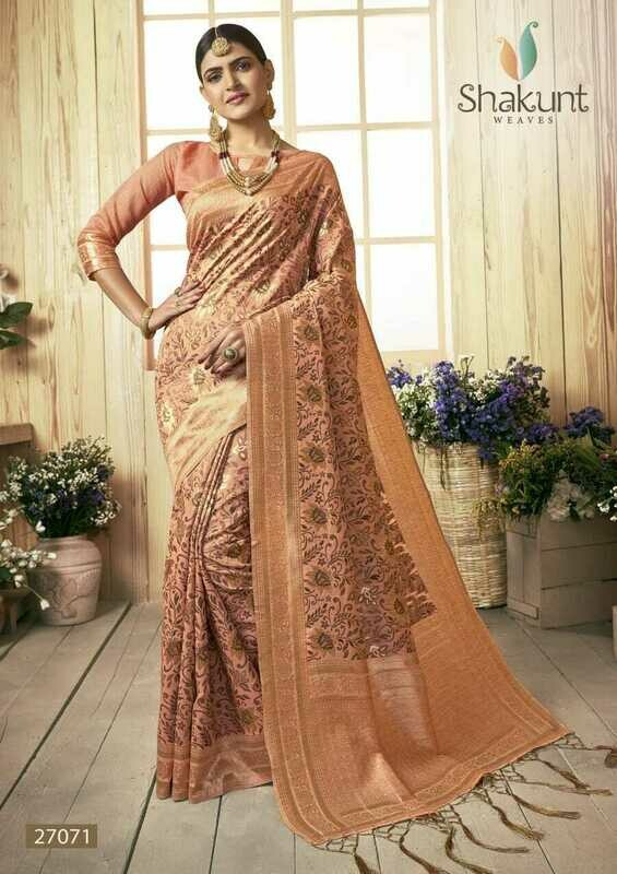 Gleaming Pastel Orange Colour Designer Cotton Saree