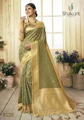 Prominent Mehendi Green Colour Jacquard embroidery Cotton Saree