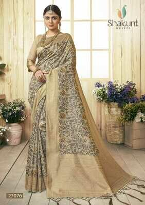 Eye Catching Golden Colour Festival wear Cotton Saree
