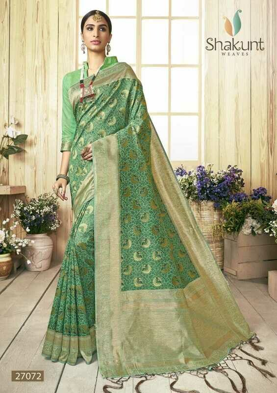 Sea Green Cotton Embroidered Designer Indian Saree