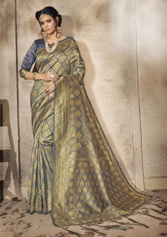 Demanding Golden With Grey Festival Wear Indian Silk Saree