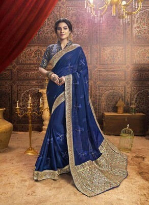 Marvellous Navy Blue Indian Saree With Embroidery Work