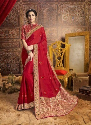 Glorious Red  Party Wear Indian Chiffon Saree