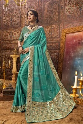 Indian Turquoise Blue Color Casual Wear Designer Embroidery Saree