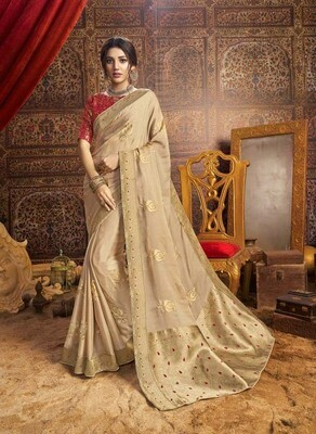 Intricate Beige Color Designer Indian Chiffon Saree