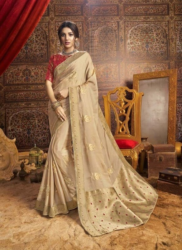Intricate Beige Color Designer Indian Chiffon Saree