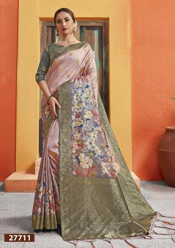 Hypnotic Classy Look Multi Color Jacquard Silk Indian Saree