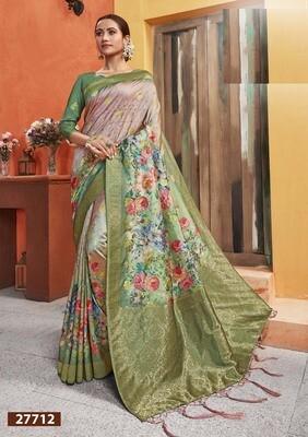 Flamboyant Designer Multi Color Silk Saree With Digital Print Work