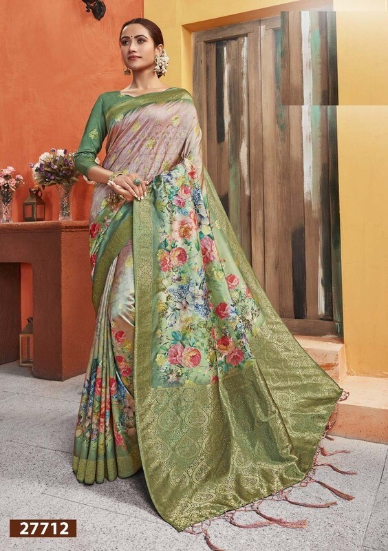 Flamboyant Designer Multi Color Silk Saree With Digital Print Work