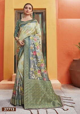 Radiant Pista With Green Color Party Wear Indian Saree
