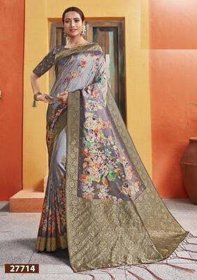Extraordinary Golden And Grey Color Jacquard Silk Indian Saree