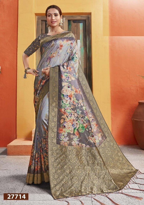 Extraordinary Golden And Grey Color Jacquard Silk Indian Saree