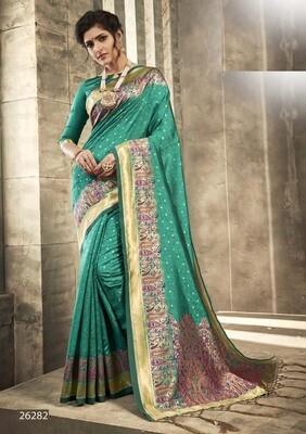 Pastel Peacock Green Color Designer Indian Saree