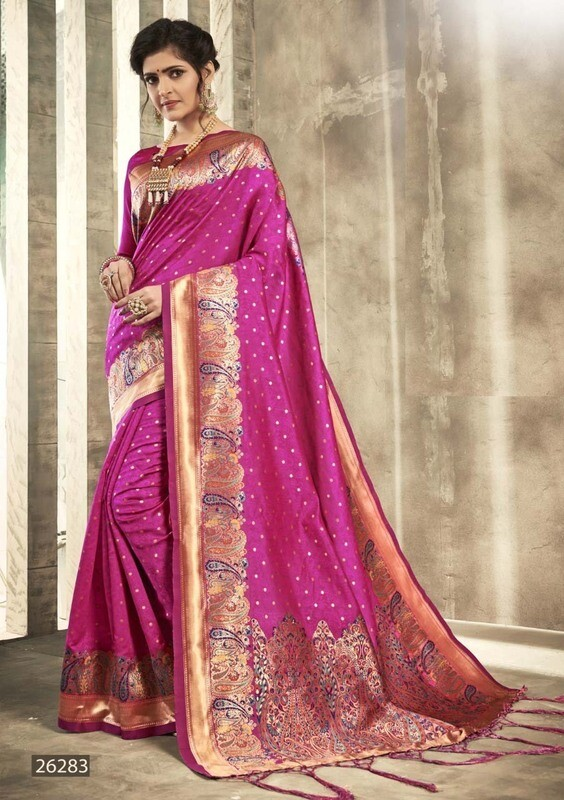 Designer Casual Wear Pink Color Indian Silk Saree